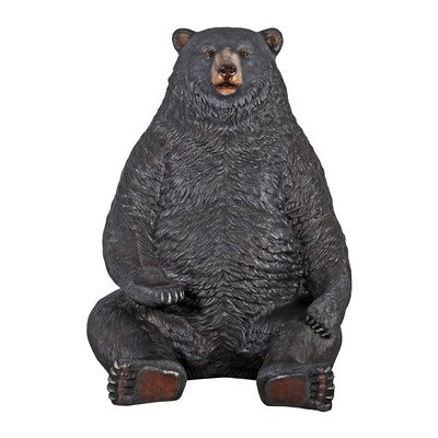 Realistic Giant Sitting Black Bear Statue with Paw Seat