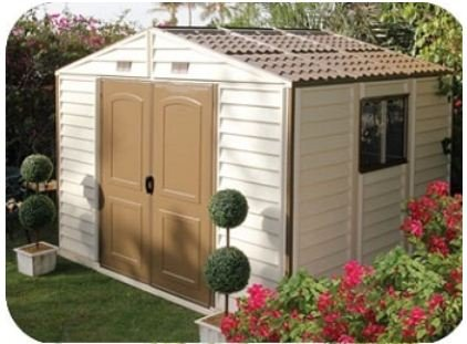 Adorable Outdoor Vinyl Shed with Foundation, 10.5 by 8-Feet