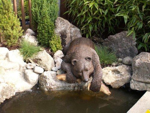 Cute Bear Fishing Sculpture