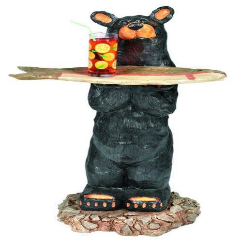 Fun Bear Waiter With Tray Outdoor Decor