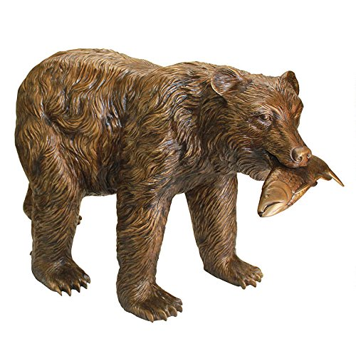 Large Solid Bronze Fishing Bear Garden Statue