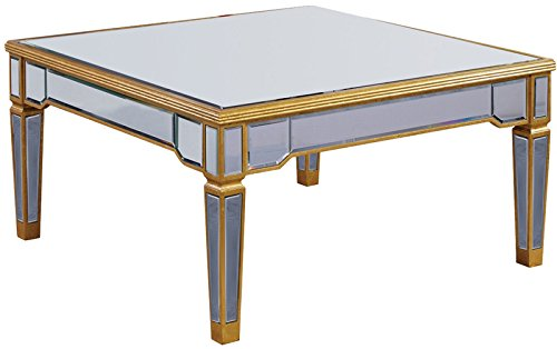 Elegant Coffee Table with Gold Clear Mirror