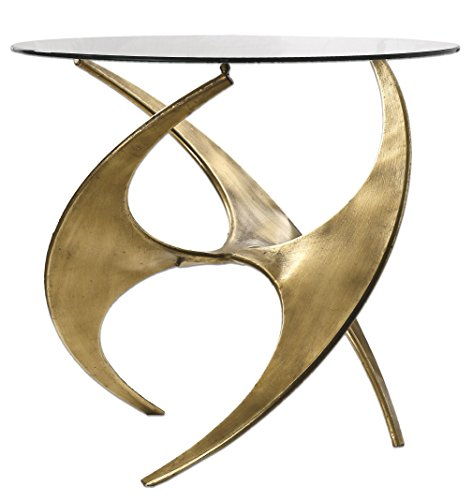Abstract Sculpture Gold Metal Accent Table