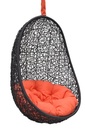 Black Synthetic Wicker Porch Swing Hanging Chair