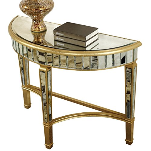 Gold and Antique Mirror Half Moon Table