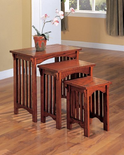3-Piece Mission Style Occasional Nesting Side Table Set