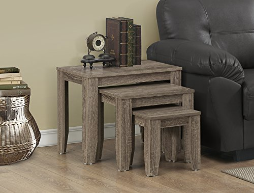 Cool Dark Taupe Reclaimed Wood Look 3-Piece Nesting Table Set