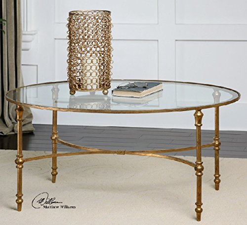 Hand Crafted Golden Forged Iron Oval Glass Coffee Table