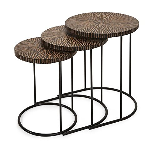 Unique Round Coconut Shell Nesting Tables
