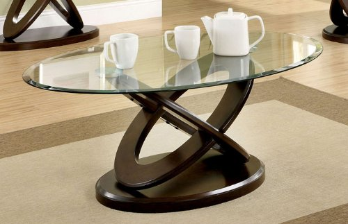 Elegant Dark Walnut Finish Oval Glass Top Coffee Table