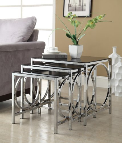 Set of 3 Chrome Glass Nesting Side End Tables