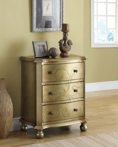 Cute 3-Drawers Golden Bombay Chest