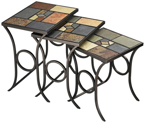 Sculpted Metal Base Nesting Tables with Colorful Slate Accents