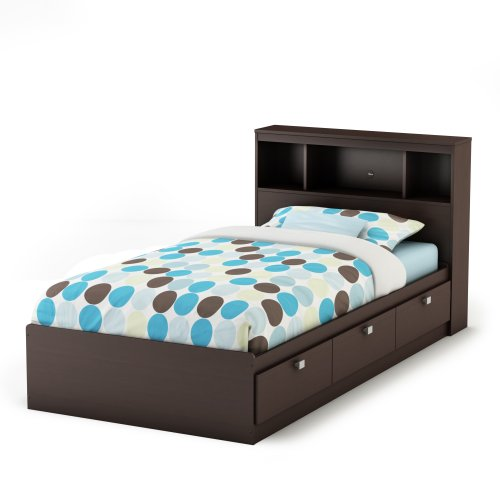 Twin Size Storage Bed and Bookcase Headboard