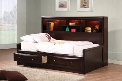 Cappuccino Finish Full Size Bookcase Storage Day Bed