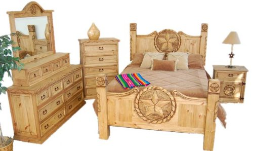 Very Unique Honey Rustic Western King Size Bedroom Set