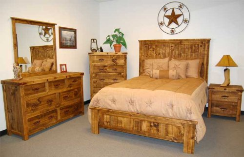 Very Cool 5 Piece Reclaimed Wood Look King Bedroom Set