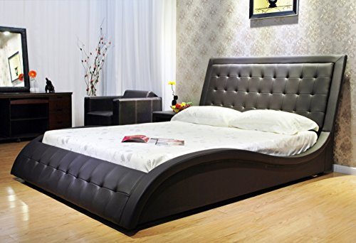 Eastern King Black Wave-like Shape Faux Leather Platform Bed