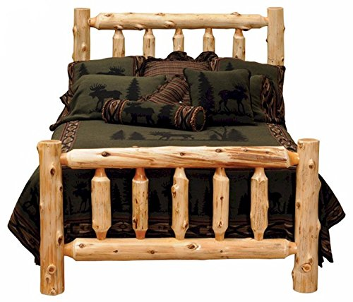 Beautiful Queen Size White Cedar Log Bed for Sale