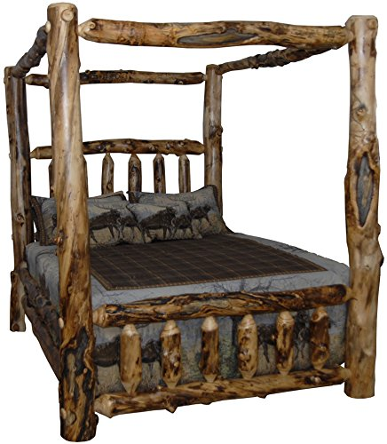 Rustic Aspen Log King Canopy Bed