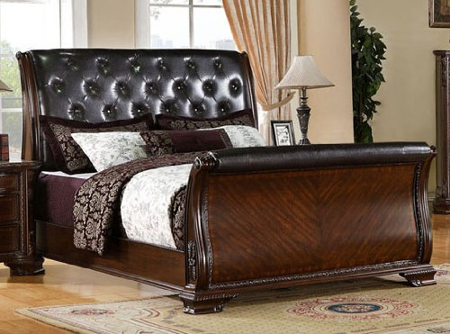Eastern King Tufted Sleigh Bed