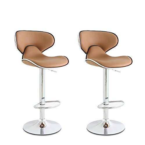 Cushioned Saddleback Light Brown Adjustable Hydraulic Bar Stools