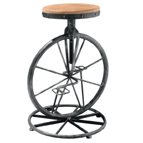 Unique Bicycle Wheel Adjustable Bar Stool