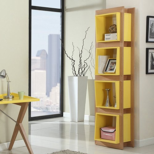 Playful Yellow Bookshelf with Four Shelves