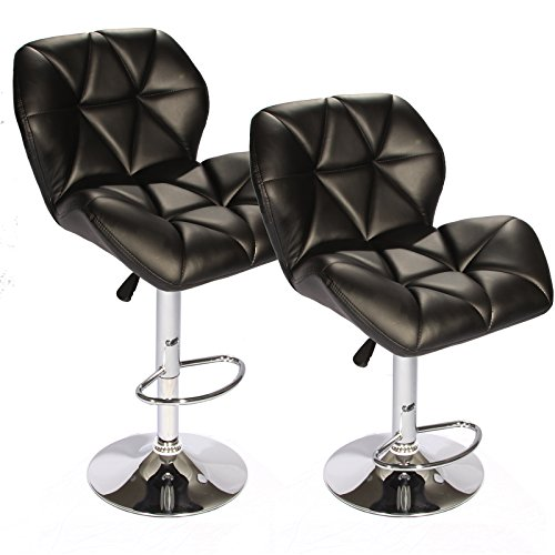 Modern Hydraulic Swivel Black Leather Bar Stools