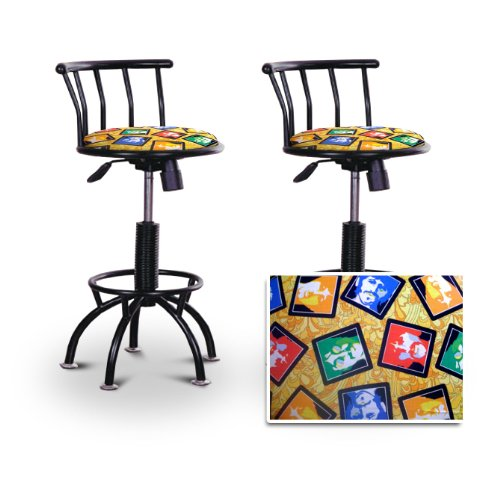 The Beatles Themed Colorful Yellow Seat Bar Stools