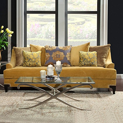 Yellow Gold Upholstered Sofa