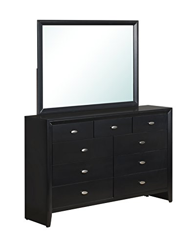 Nice Looking Dresser and Mirror in Rich Black Finish