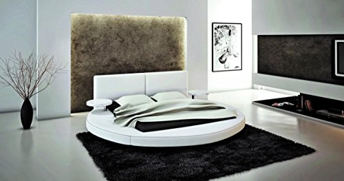 Classy Modern Round Leather Bed White