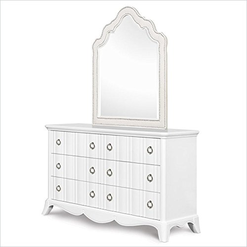 Charming Snow White Dresser with Upholstered Mirror