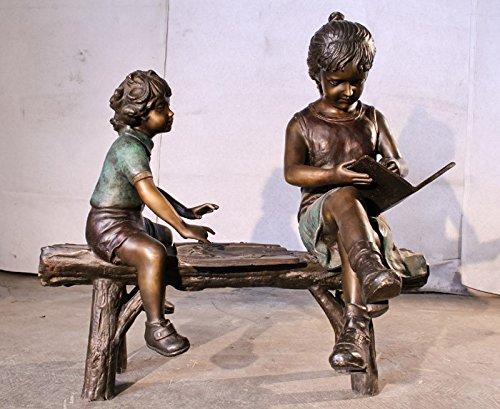 Kids Reading on Bench Jumbo Size Bronze Sculpture