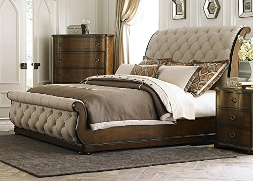 Fancy King Size Tufted Linen Upholstered Sleigh Bed