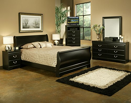 5-piece Sleigh King-size Bedroom Set in Black