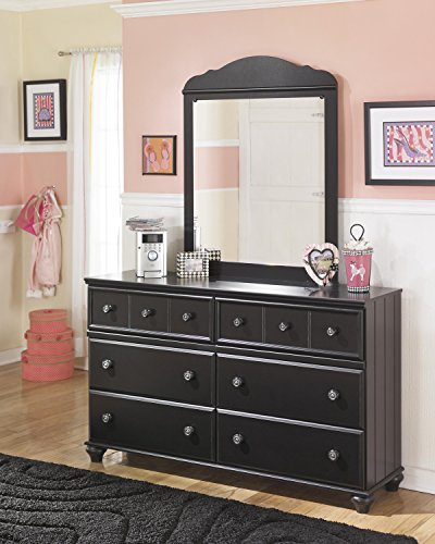 Cottage Style Wood Dresser and Mirror in Rich Black Finish