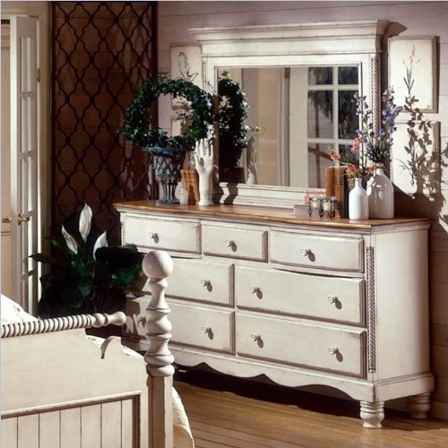 Antique White Double Dresser and Mirror Set with 7 Drawers