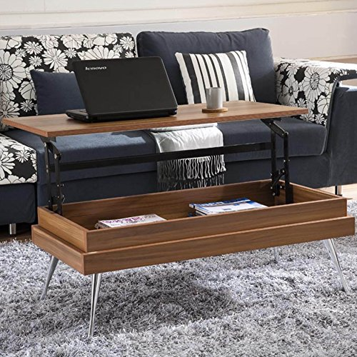 Beautiful Walnut Rectangular Lift-Top Storage Coffee Table