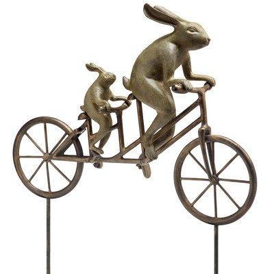 Cute Metal Bicycle Bunnies Garden Sculpture