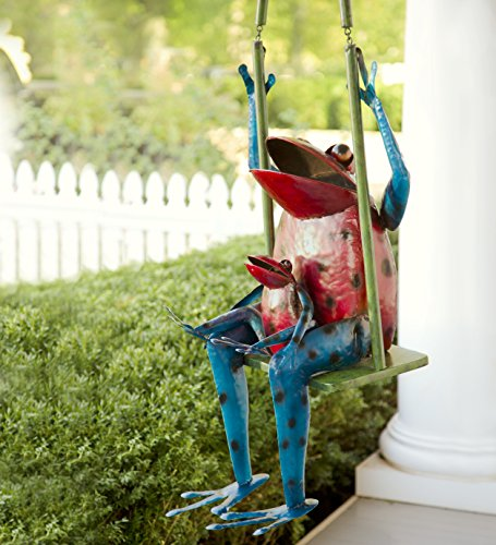 Large Swinging Frogs Recycled Metal Sculpture