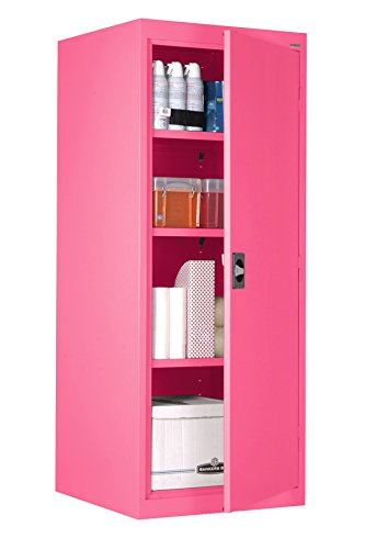 Pink Storage Cabinet with Adjustable Shelves