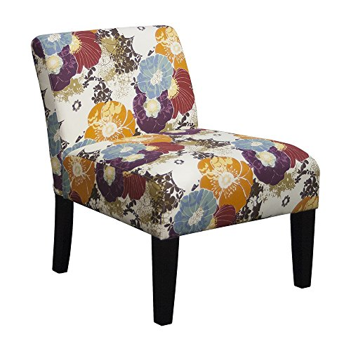 Cute Floral Graffiti Print Fabric Chair