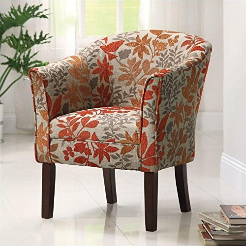 Floral Print Barrel Back Accent Chair