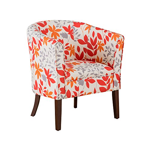 Cheerful Orange Floral Leaf Pattern Armchair