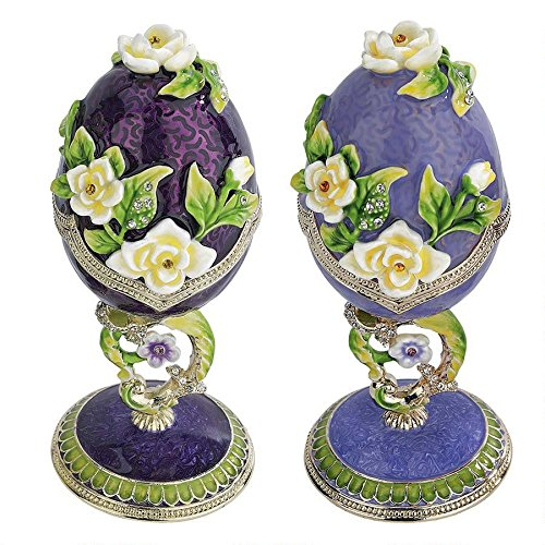 Purple Floral Faberge Egg Boxes