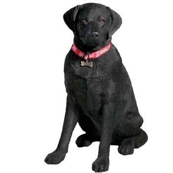 Life Size Sitting Black Labrador Retriever Sculpture