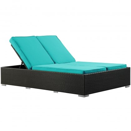 Two-Seater Outdoor Wicker Patio Chaise Recliner