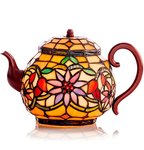 Colorful Stained Glass Teapot Shape Accent Lamp